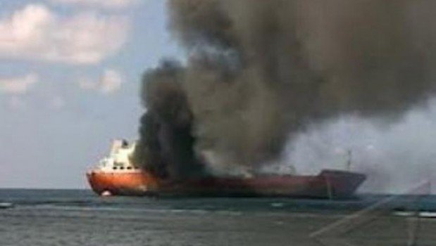 Livestock carrier engulfed in flames