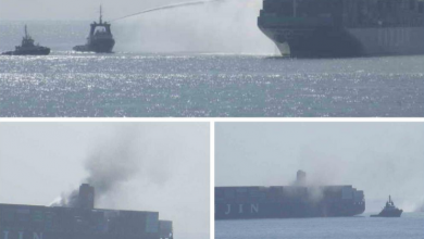 Photo of Fire doused on giant Hanjin boxship transiting Suez Canal