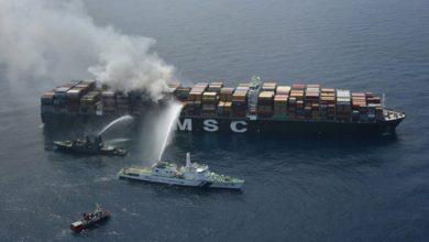 Photo of Fire-struck MSC Daniela in China for repairs