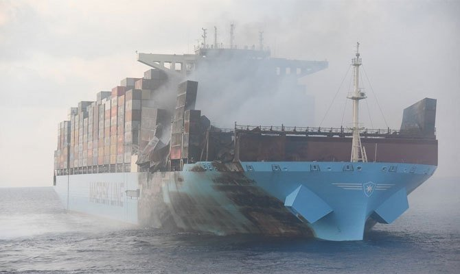 Burnt Maersk Honam headed for Jebel Ali