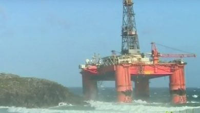 Photo of 'Weeks' before the grounded Transocean Winner can be moved