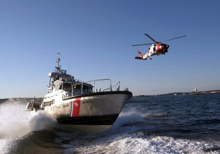 USCG helicopter crew airlift distressed man from OSV off Texas