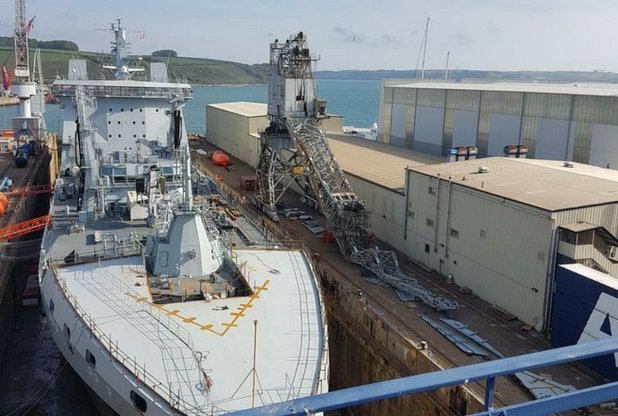 Crane collapses at Falmouth Docks