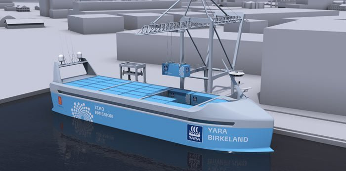 Yara and Kongsberg to build autonomous and zero emissions feeder boxship