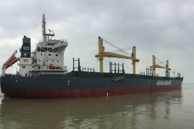 Oldendorff handy bulker hits bridge at Oshima
