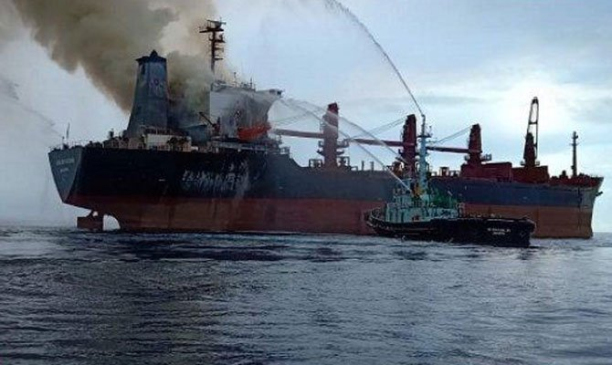 Handy bulker hit by fire off Indonesia