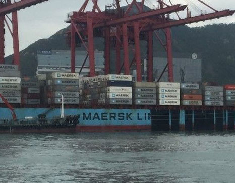Maersk boxship covered in bunker fuel as HK authorities struggle to contain big spill