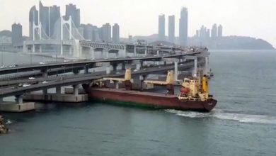 Photo of Russian cargo ship slams into highway bridge in Busan