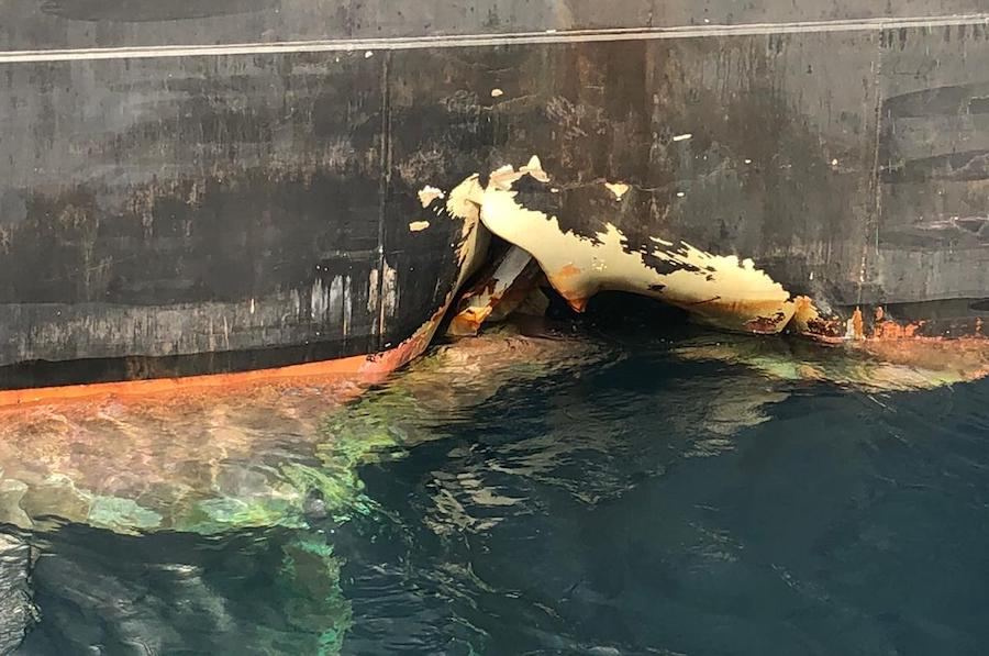 Likely bunker spill detected from Bahri VLCC attacked off