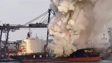 Photo of KMTC boxship struck by chemical blaze sent for demo