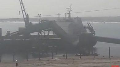 Photo of Lavinia bulker damaged in dramatic conveyor belt collapse