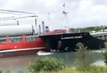Photo of Welland Canal collision captured on video