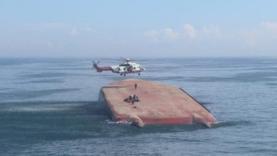 Photo of Chinese general cargo ship capsizes near Taiwan, four dead