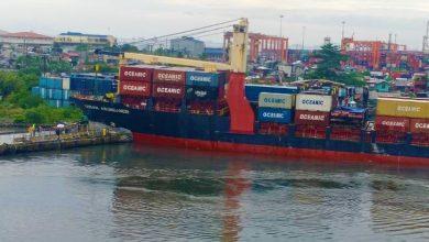 Photo of Feeder boxship slams into pier at Manila port