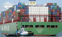 Giant Cosco boxship refloated off Antwerp