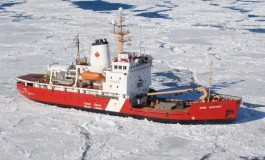Canadian Coast Guard ship Ann Harvey runs aground after hitting rock