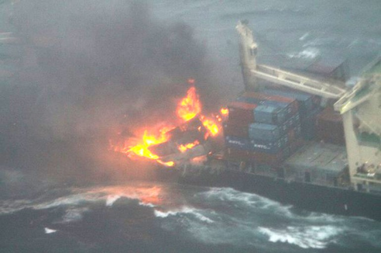 Containership on fire in East China Sea