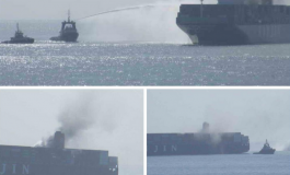 Fire doused on giant Hanjin boxship transiting Suez Canal