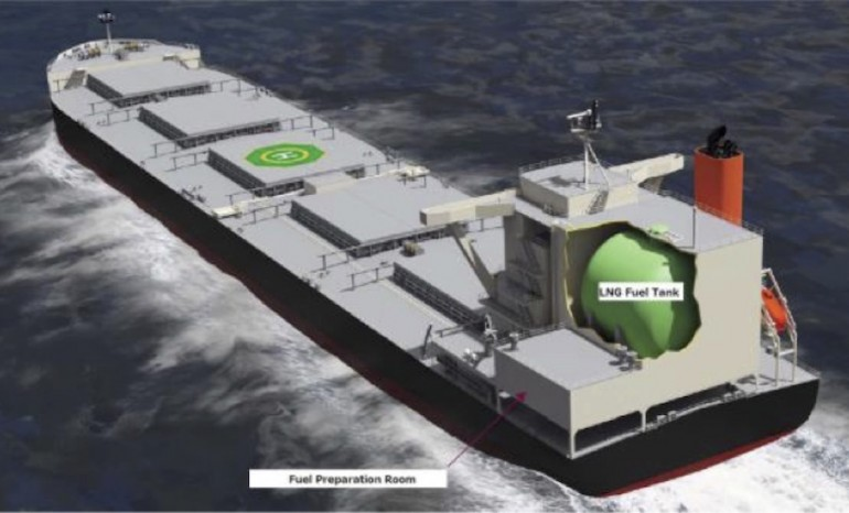 MOL shows off revolutionary gas-powered coal carrier